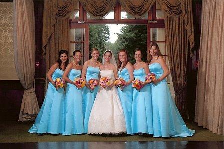 Girls use tiffany blue bridesmaid dresses