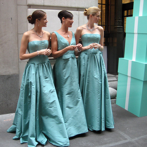 Tiffany blue bridesmaid three girls