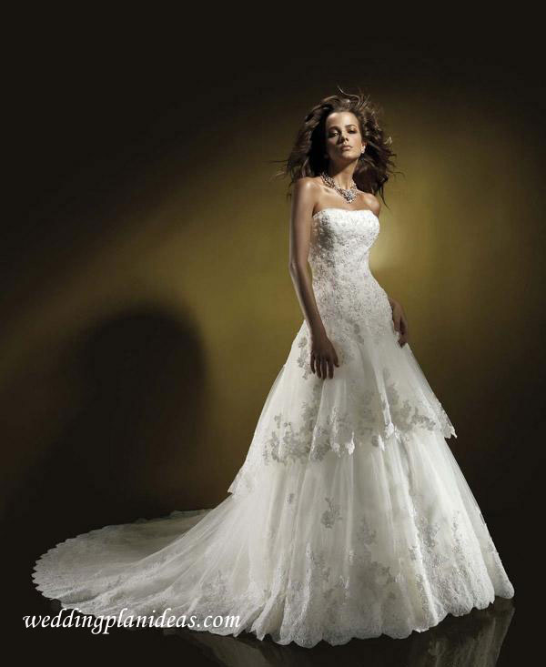 Princess satin wedding dress