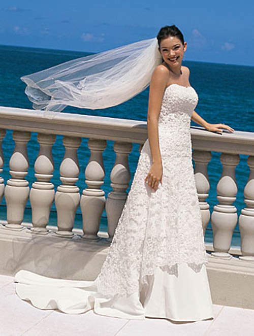 Beautiful Wedding Dress, full Embroidery and Falling Limp Waist by Alfred Angelo