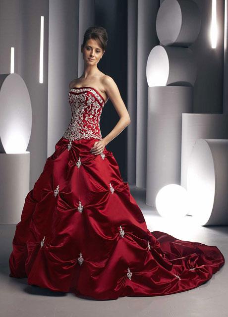 Ball Gown Wedding Dress Red