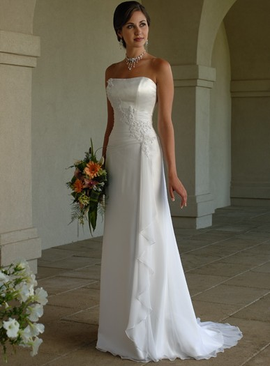 Classical White Straples Style Beach Wedding Dress