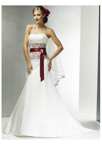 Satin Strapless A line Skirt with Elegant Wine Red Sash and Chapel Train