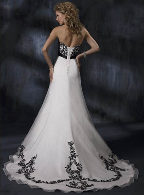 Strapless Wedding Dress with sash back view