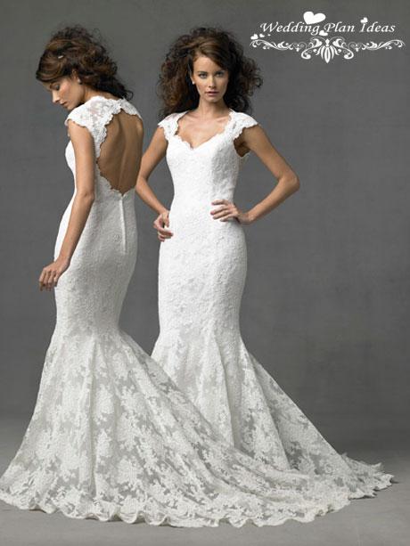 Lace cap sleeve mermaid wedding dress