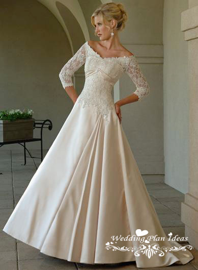 Satin lace wedding dresses