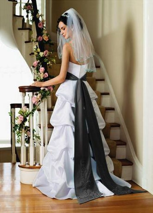 white black wedding dress with sash