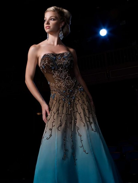 2012 Unique Custom Blue jasz couture wedding dress