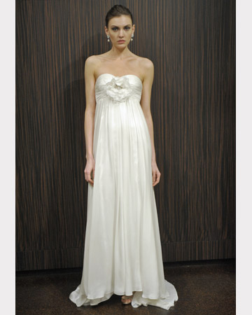 Badgley Mischka Strapless Satin Wedding Gown