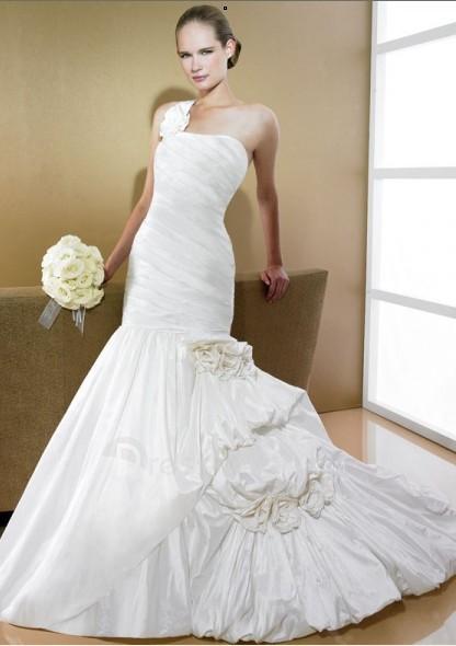 Chapel Train Straight Neckline Taffeta Hot Sell Mermaid One shoulder Wedding Dress