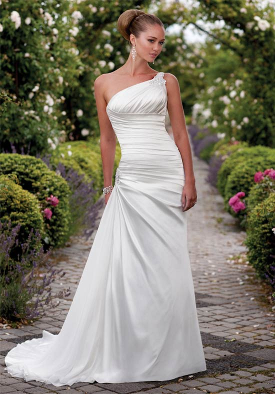 One Shoulder White Wedding Dress