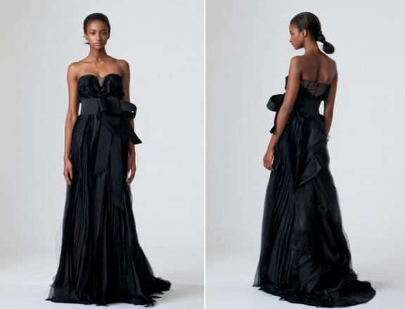 black strapless bridal dress by vera wang
