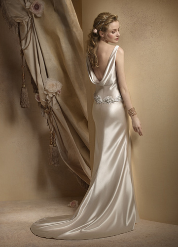 Ivory Dream Sheath Wedding Gowns Open Back