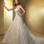 strapless ivory wedding dresses with embroidery by benjamin roberts