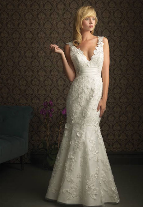 mermaid v neck floor length attached satin tulle lace wedding dress style 2012