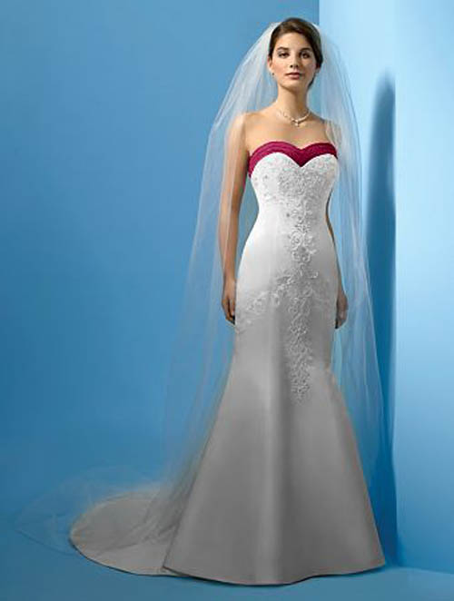 Summer wedding dresses with red strip and embroidery