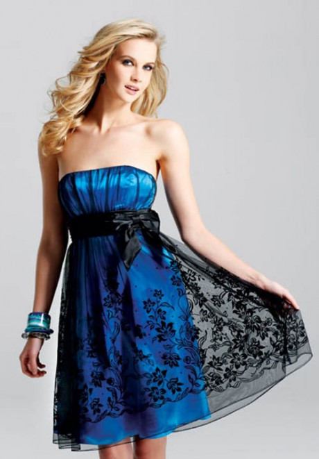 Blue Strapless Short Prom Dresses
