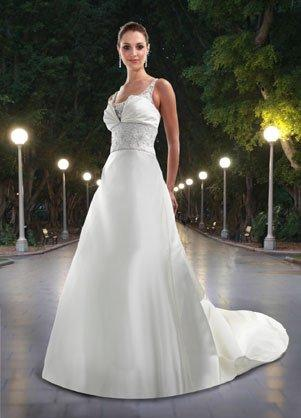 DaVinci Satin wedding dress short sleeves