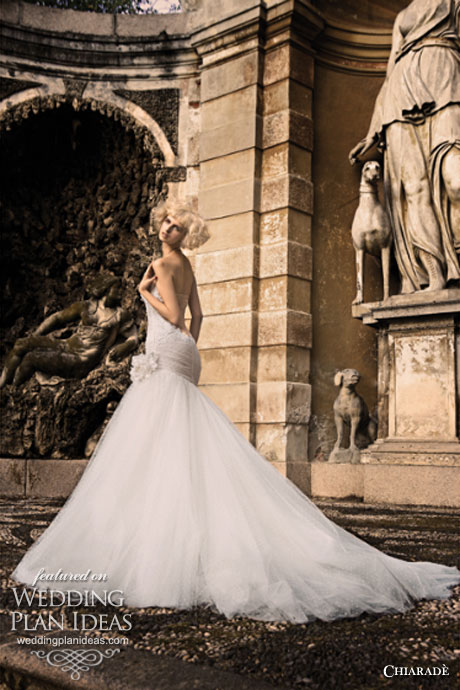 Dramatic train strapless ball gown