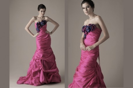 Pink Purple Couture Wedding Dress