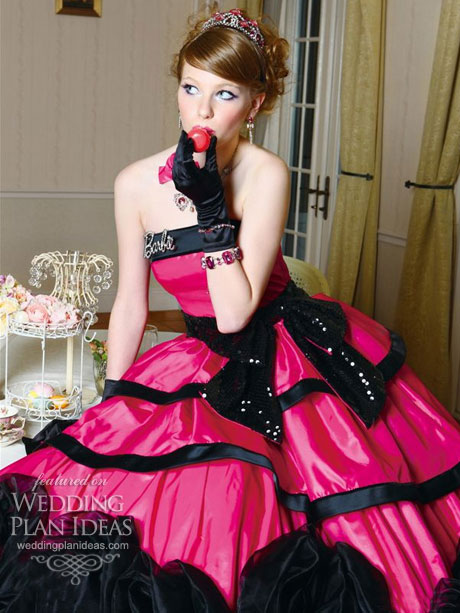Pink black dresses best little black dress for Black and pink wedding dress