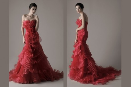 Red pleat rose like wedding dress