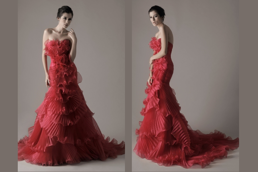 Red pleat rose like wedding dress wedding plan ideas for Wedding dress with red roses