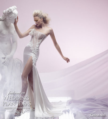 Sexy strapless lace bodice wedding dress