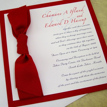 Square Wedding Invitation With Red Ribbon