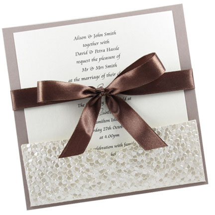 Wedding Invitation with A Pocket Metallic Pebbles Ivory