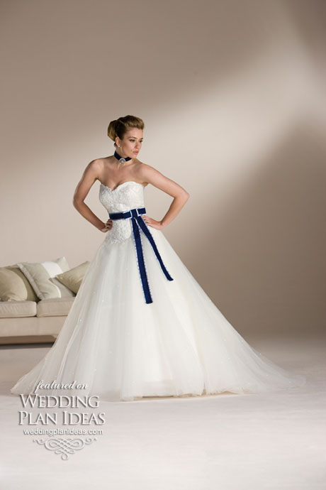 Wedding dresses with a blue ribbon