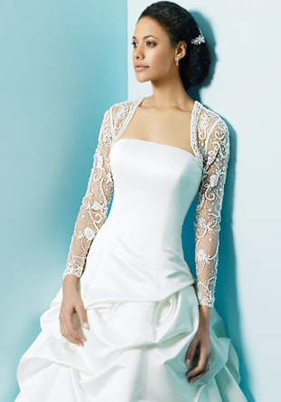 Long sleeve bolero wedding dress