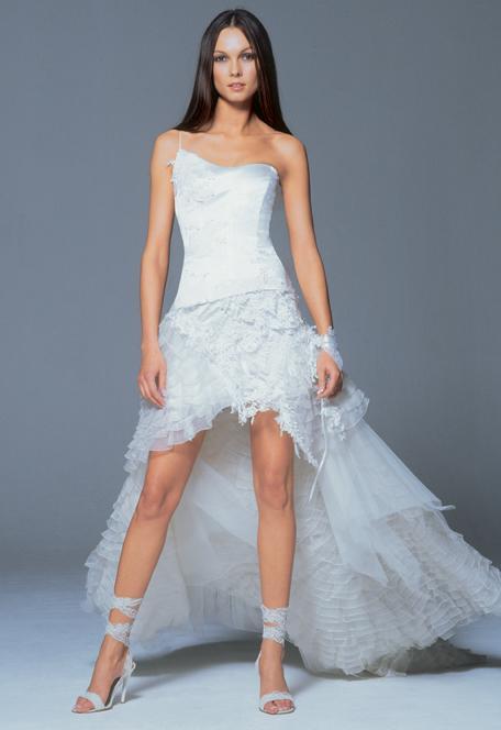 Asymetric nechline short best wedding dress