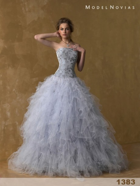 Beautiful Petite Wedding Dress with Layered Curtain Skirt