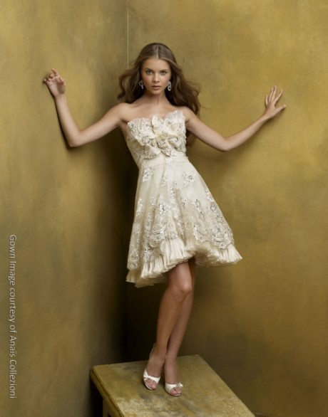 Beautiful Strapless Knee Length Wedding Dress by Anail Collezioni St Pucchi Bridal Gown Style