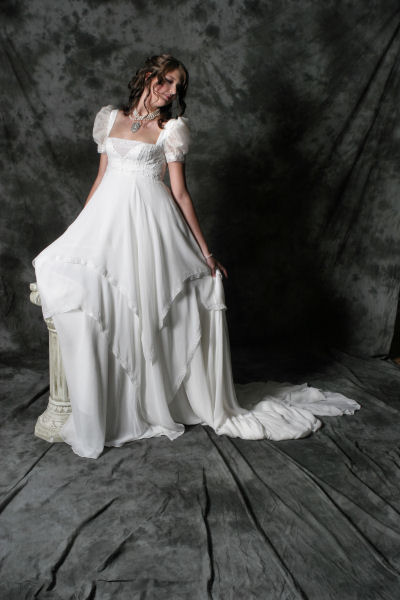 romantic short sleeves wedding dress layered skirts