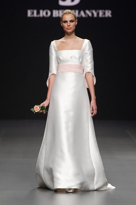 Empire Waist Satin Wedding Dress by Elio Berhanyer Bridal