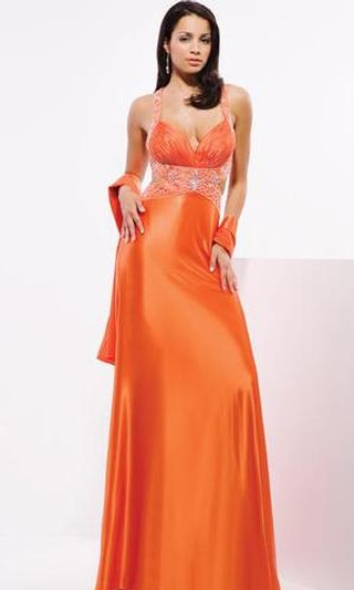 Halter Orange Bridesmaid dress