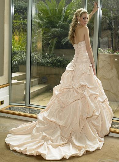 champagne colored satin wedding dress