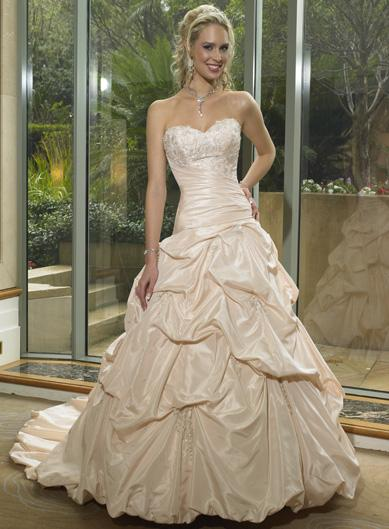 champagne colored wedding gown