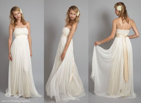 strapless greek goddess wedding dress