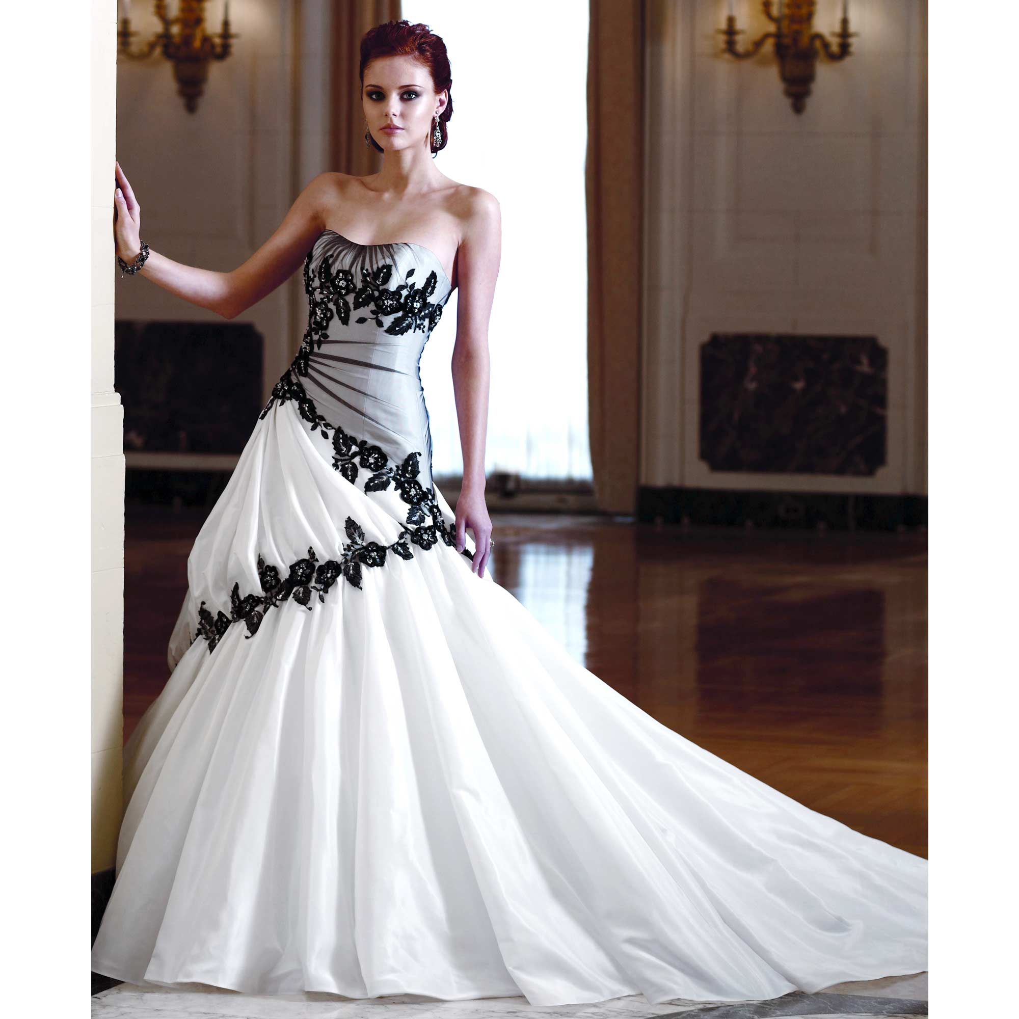 Ball gown black white wedding dress wedding plan ideas for Images of black wedding dresses