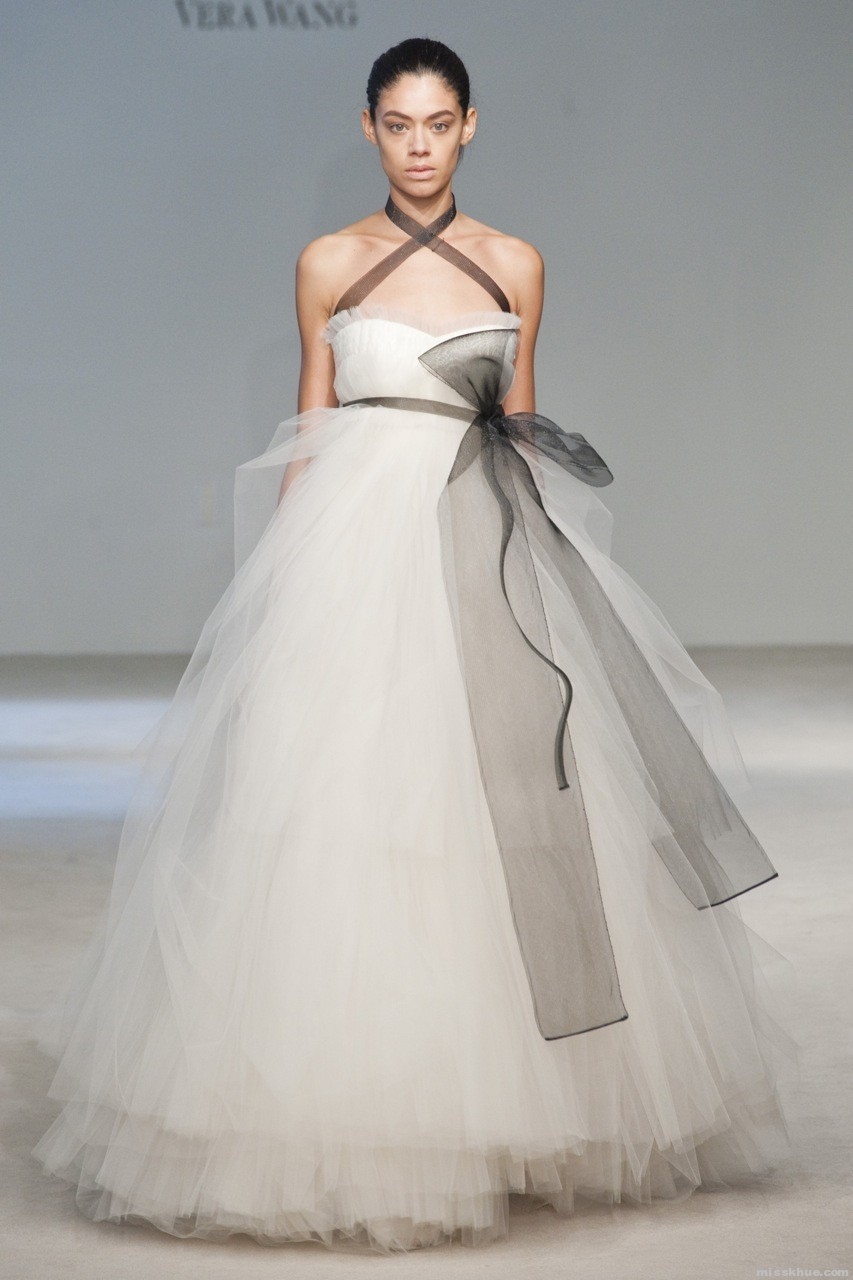 Vera wang white black wedding dress wedding plan ideas for Wedding dresses that are white