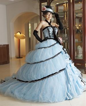 Blue and Black Gypsy Wedding Dress