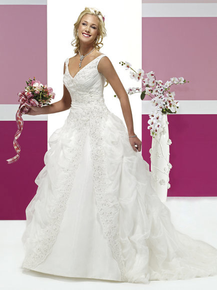 Deep V Style Satin Wedding Dress