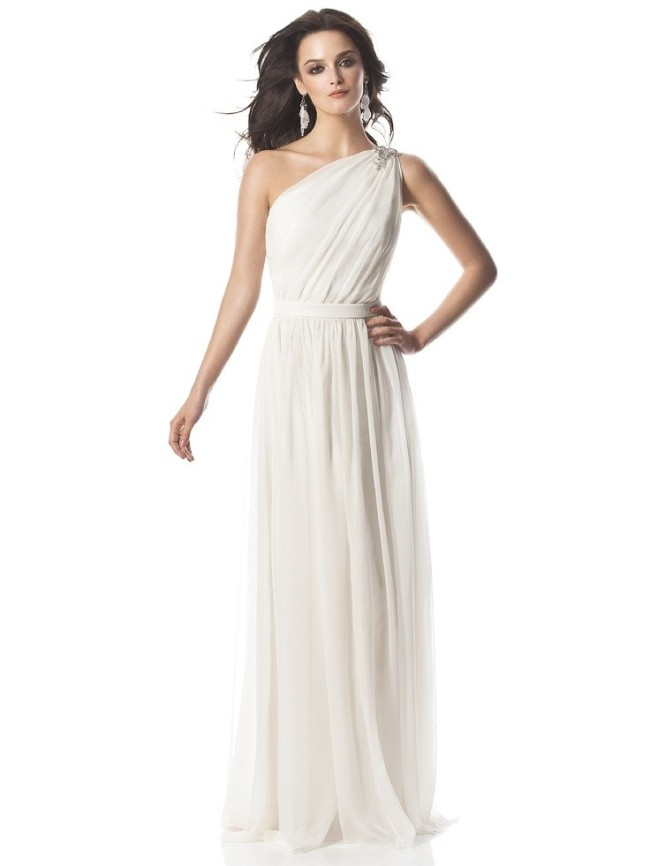 Simple One Shoulder Wedding Dress