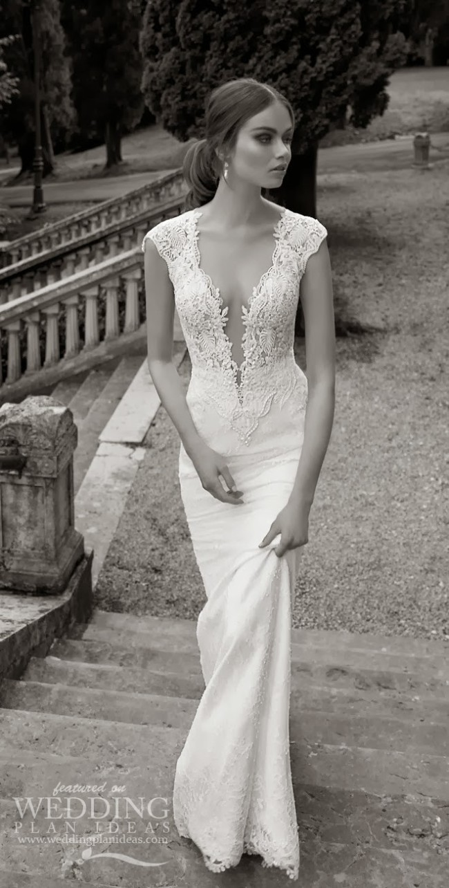 Simple wedding dress with full embroidery