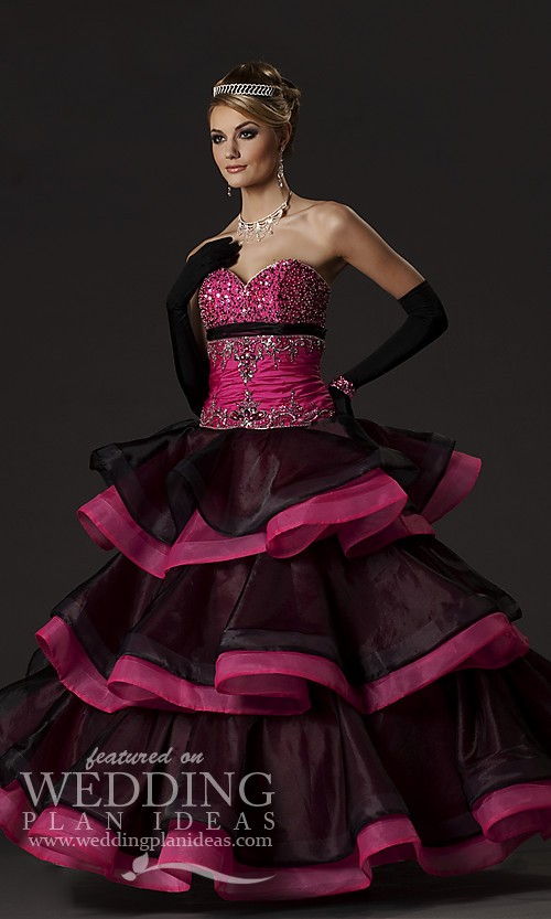 Black and Pink Quinceanera Dress