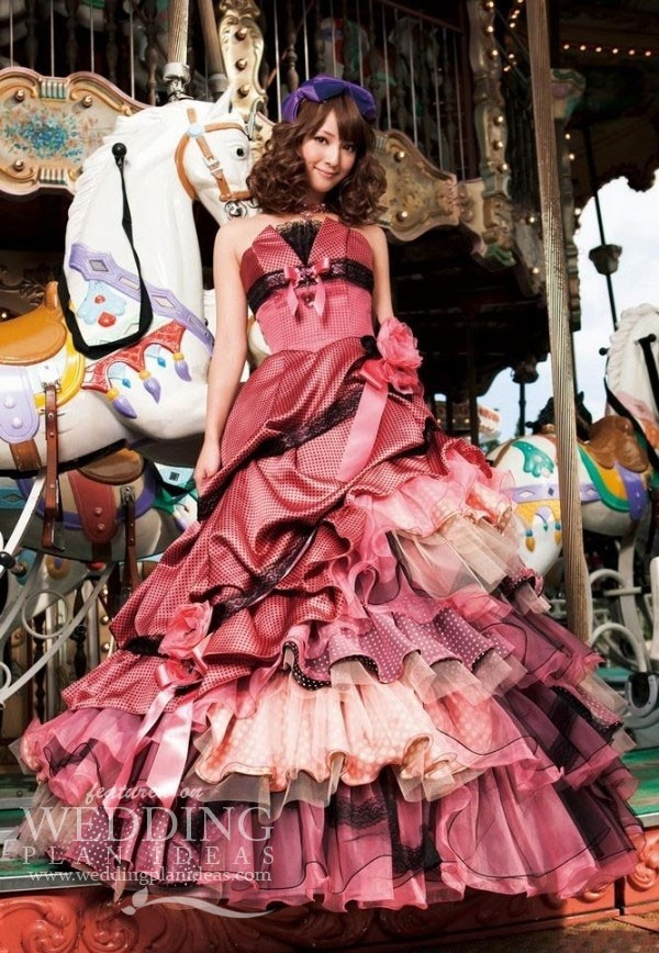 Korean Pink and Black Wedding Dress