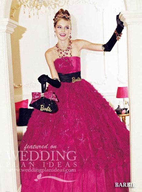 Wine Barbie Wedding Dress